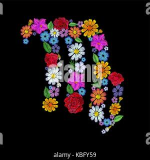Virgo zodiac sign flower arrangement. Horoscope astrology fashion floral embroidery patch design template. Texture - Stock Photo