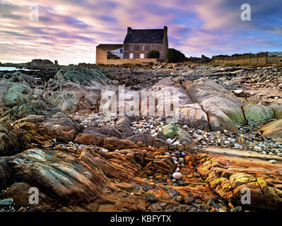 A colourful view at the beginning of sunset of the distinctive coast of Brittany
