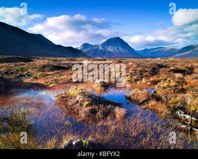 A colourful view across Rannoch Moor of the iconic mountain Buachaille Etive Mor in the Scottish Highlands - Stock Photo