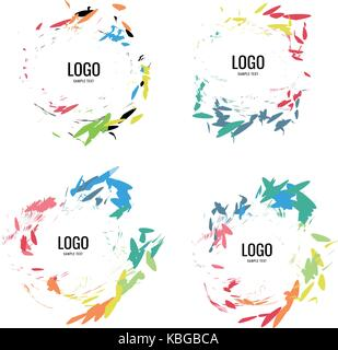 A series of circular logos in a natural style on a white background - Stock Photo