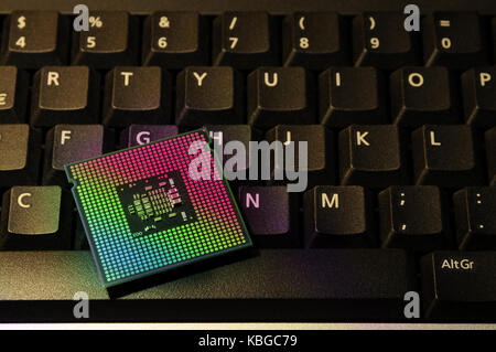 Close Up of Computer Processor CPU on a keyboard. background. tecnology concept. - Stock Photo