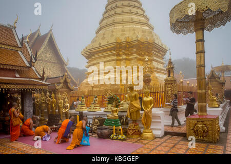 Wat Phra That Doi Suthep Temple of Chiang Mai, Thailand - Stock Photo