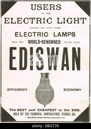 Ediswan light bulbs advert, 1899 - Stock Photo