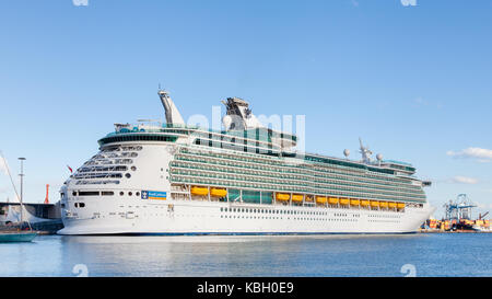 Royal Caribbean cruise ship Navigator of the Seas is pictured docked in port Las Palmas de Gran Canaria, Spain. - Stock Photo
