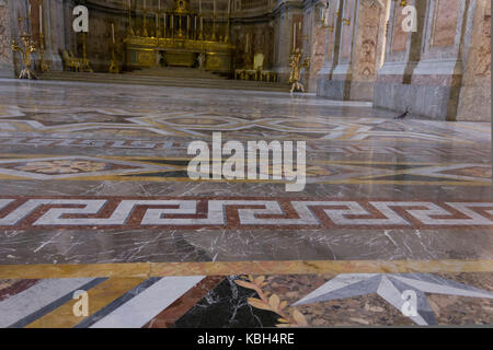 Caserta, Italy, August 14, 2014: Royal Palatine Chapel, floor detail. It has been projected by Italian Architect - Stock Photo