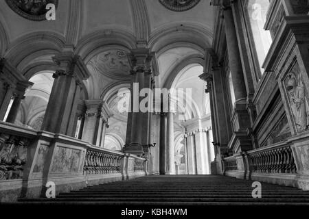 Caserta, Italy, August 14, 2014: Caserta Royal Palace, the honour Grand Staircase, projected by Italian Architect - Stock Photo
