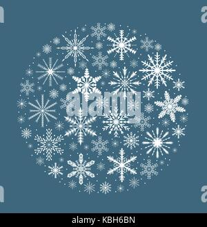 Merry christmas card with snowflakes in round shape. Snow globe for your design. Vector illustration. - Stock Photo