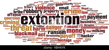 Extortion word cloud concept. Vector illustration - Stock Photo
