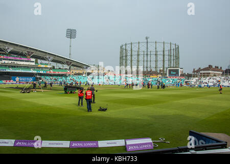 London,UK. 27 September The pitch ahead of the game with the famous gas holder next to the modern OCS stand. England - Stock Photo