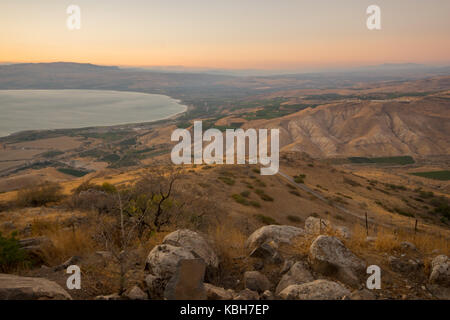 View of the Golan Heights with Nachal (stream) Samach and the northern part of the Sea of Galilee (the Kinneret - Stock Photo