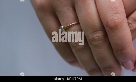 Jeweler bracelet on the bride's hand. Bride's hands with ring. Wedding. Wedding day. Luxury bracelet on the bride's - Stock Photo