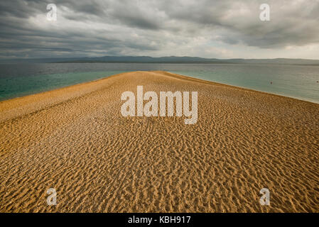 Zlatni Rat (Golden Horn) beach, Brac island, Croatia - Stock Photo