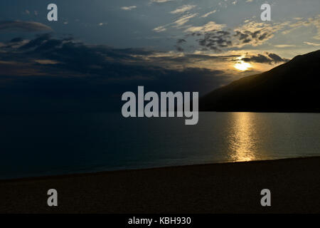Sunset at Golden Horn (Zlatni Rat) beach, Brac Island, Croatia - Stock Photo