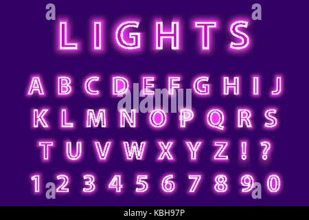 Modern trendy pink neon alphabet on a purple background. LED glowing letters font. Luminescent number. Vector illustration. - Stock Photo