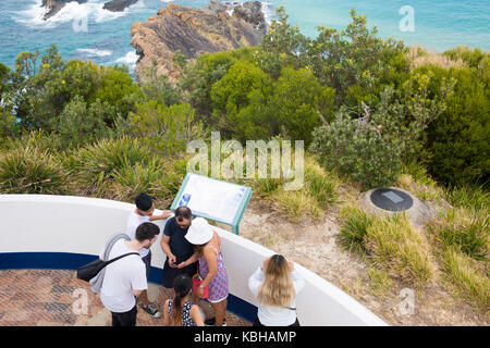 Visitors to Sugarloaf point lighthouse at Seal Rocks,New south wales,Australia - Stock Photo