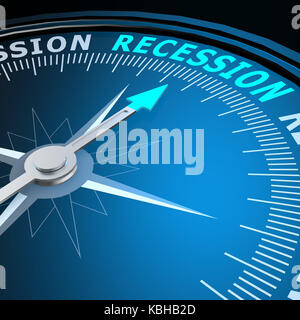 Recession word on compass image with hi-res rendered artwork that could be used for any graphic design. - Stock Photo