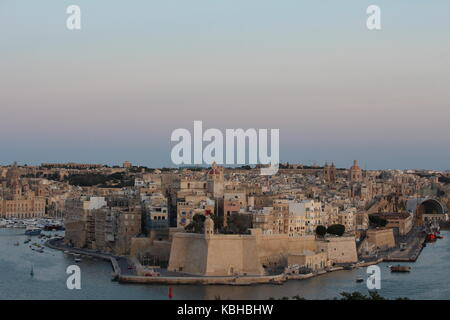 View from Valletta, of The Grand Harbour, and La Guardiola, Malta, September 2017 - Stock Photo