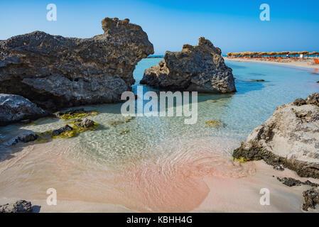 Summer morning at Elafonisissi beach Crete Greece - Stock Photo