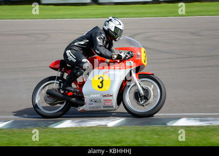 1966 MV Agusta 500/3 owned by Mark Kay ridden by Dunlop racing at Goodwood Revival 2017. Space for copy