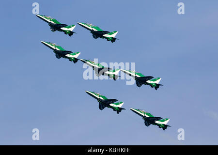 Saudi Air Force British Aerospace Hawk 65A, the Saudi Hawks, display over the sea off the East Coast of Malta. - Stock Photo