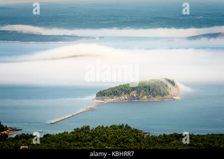view from Cadillac Mountain, Acadia National Park, Bar harbor Maine. - Stock Photo