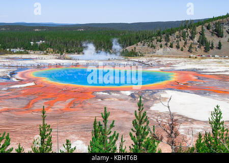 Grand Prismatic Spring in Yellowstone National Park in Wyoming, USA. - Stock Photo