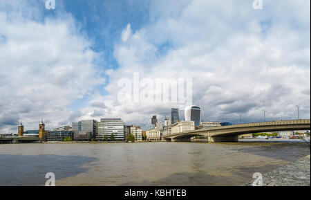 Panoramic view: River Thames north bank to the City of London by London Bridge - Walkie Talkie, Cheesegrater, Adelaide - Stock Photo