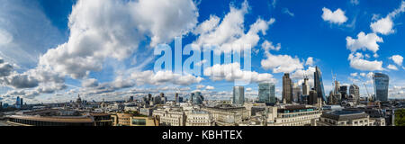 Panoramic cityscape, from Westminster in the west of London to the financial district of the City of London, with - Stock Photo