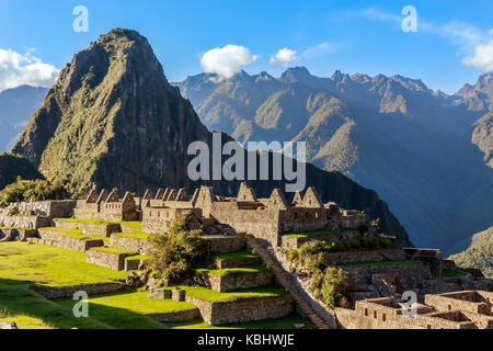 View from the top to old Inca ruins and Wayna Picchu, Machu Picchu, Urubamba provnce, Peru - Stock Photo