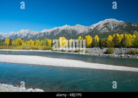 Autumn colour at Bow River Canada - Stock Photo