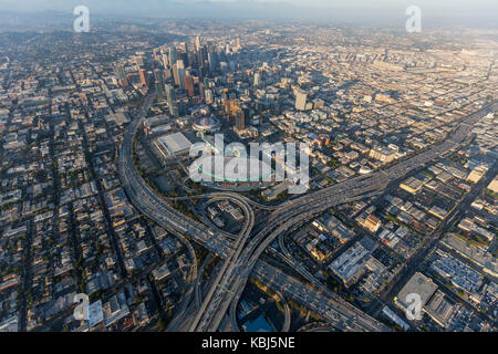 Los Angeles, California, USA - August 7, 2017:  Aerial view of Harbor 110 and Santa Monica 10 freeway interchange, - Stock Photo