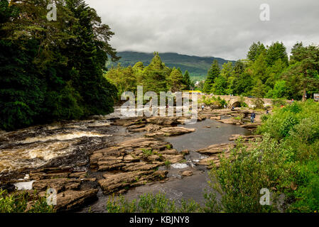 Running falls of Dochart in a small town of Killin in central Scotland - Stock Photo
