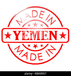 Made in Yemen red seal - Stock Photo