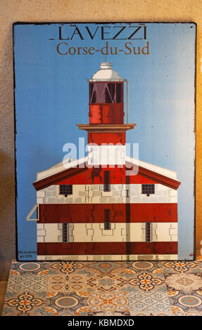 Corsica: the Lavezzi Lighthouse in one of the souvenir shops in an alley of Bonifacio, city at the southern tip - Stock Photo