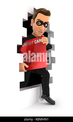 3d thief coming out through a wall with credit card, illustration with isolated white background - Stock Photo