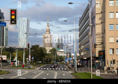 Warsaw, Poland, September 23, 2017: Sky scrapers in the centre of Warsaw, including Soviet times monument: the Palace - Stock Photo