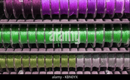 many lanyard rolls of many colors on sale in the hobby and tailor shop - Stock Photo