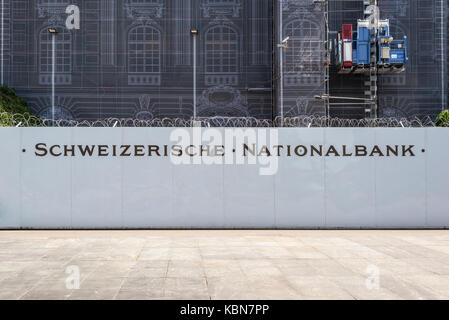 Bern, Switzerland - May 26, 2016: Repair of the facade of the Swiss National Bank in Bern, Switzerland. Building - Stock Photo