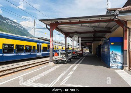 Interlaken, Switzerland - May 26, 2016: Platform at the Interlaken Ost railway station in Interlaken, Switzerland. - Stock Photo