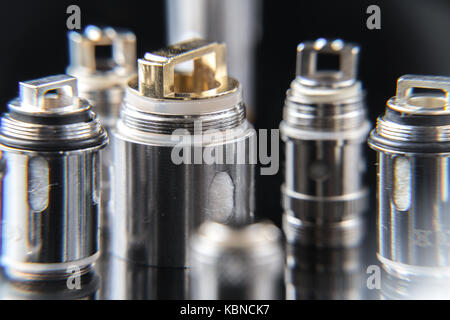 Close up on vaporizer coils - Stock Photo