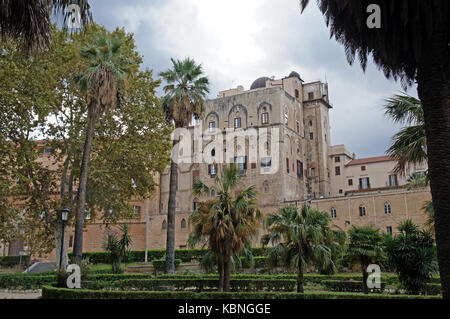 Park and Royal Palace of the Normans (Palazzo dei Normanni) in Palermo, Sicily, Italy 0 seat of the Sicilian Regional - Stock Photo