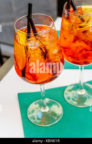 Aperol spritz cocktail in glass - Stock Photo