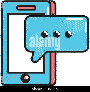 smartphone technology with chat bubble text - Stock Photo