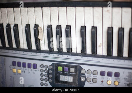 Old retro unnecessary faulty musical synthesizer - Stock Photo