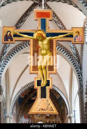 Crucifix by Giotto (1270-1337) c.1288-90, church of Santa Maria Novella, Florence, Italy. - Stock Photo