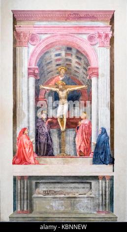 The Holy Trinity (Trinita), fresco by Masaccio (Tommaso Guidi, 1401-1428),  c. 1424-25, church of Santa Maria Novella, - Stock Photo