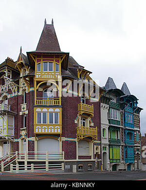 Colorful houses on the coast of Normandy in France - Stock Photo
