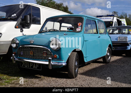 A blue Austin Mini is seen at the Winkleigh site of the West of England Transport Collection Open Day on 6th October - Stock Photo