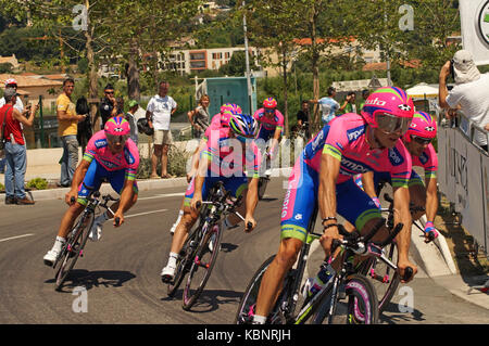 NICE - JULY 2ND : The TOUR 2013  (Tour de France). LAMPRE MERIDA Team during Nice/Nice Stage 4 (25 km)... - Stock Photo
