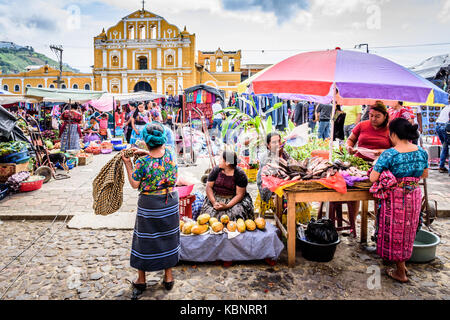 Santa Maria de Jesus, Guatemala - August 20, 2017: Colorful Sunday market in small indigenous town on slopes of - Stock Photo